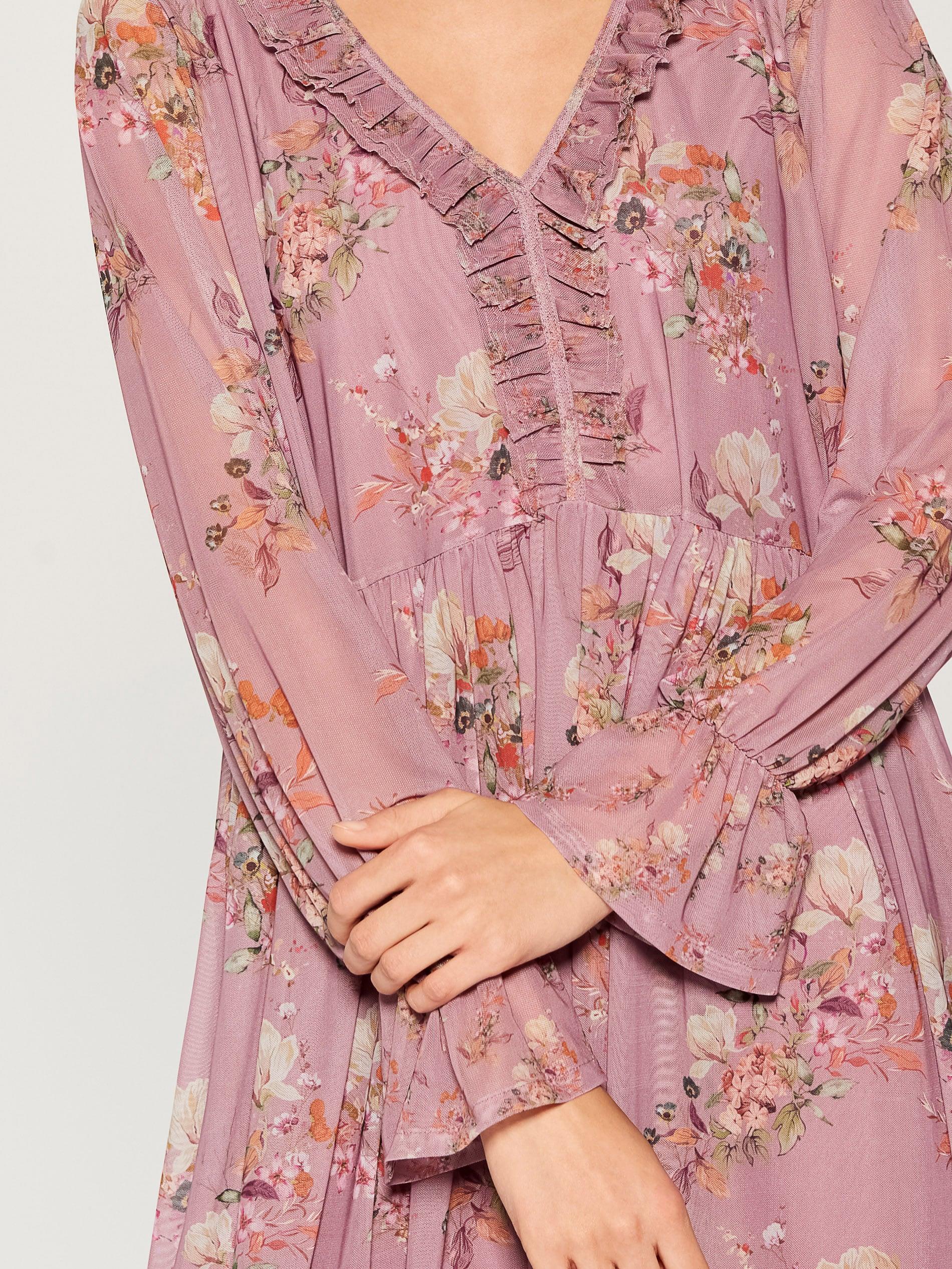 Šaty oversized s ozdobným volánem - růžová - VZ582-39P - Mohito - 4 09fcc806ee1