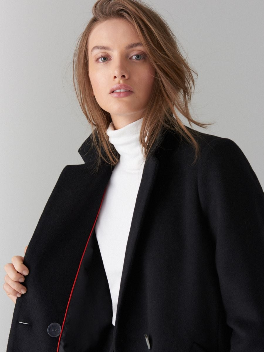 Kabát ze směsi vlny - černý - VA421-99X - Mohito - 1