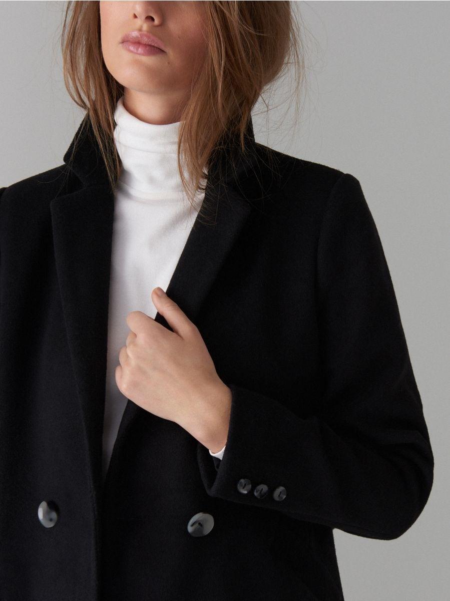 Kabát ze směsi vlny - černý - VA421-99X - Mohito - 5