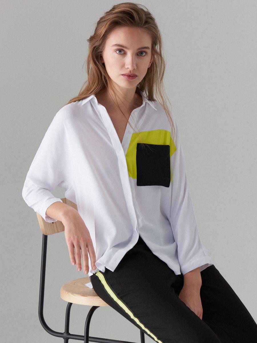 Košile sbarevnými bloky Fluo - bílá - WE185-00X - Mohito - 1