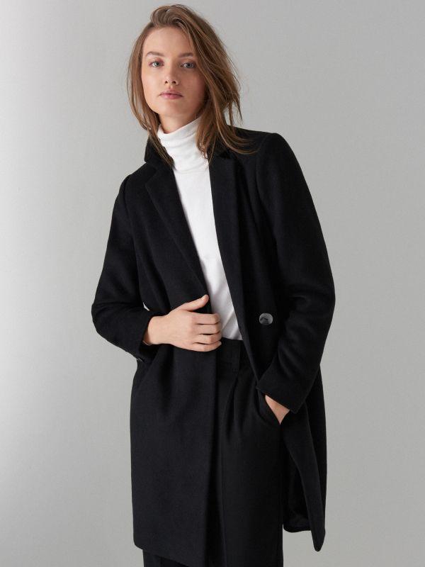 Kabát ze směsi vlny - černý - VA421-99X - Mohito - 2