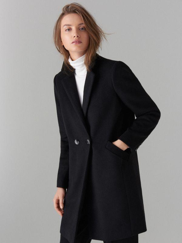 Kabát ze směsi vlny - černý - VA421-99X - Mohito - 6