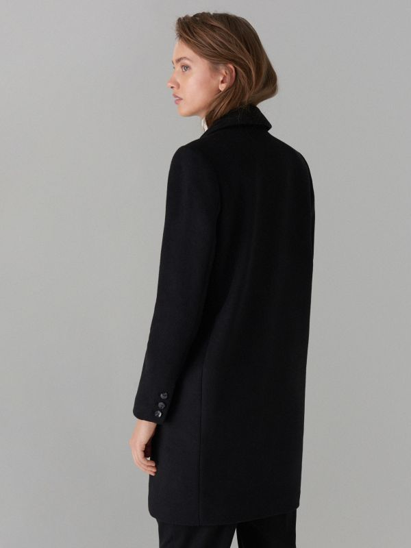 Kabát ze směsi vlny - černý - VA421-99X - Mohito - 7