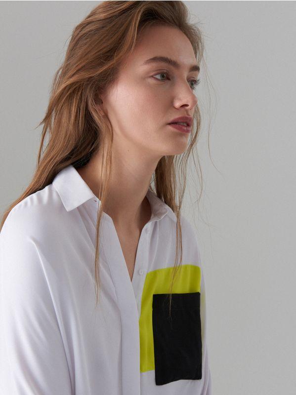 Košile sbarevnými bloky Fluo - bílá - WE185-00X - Mohito - 3