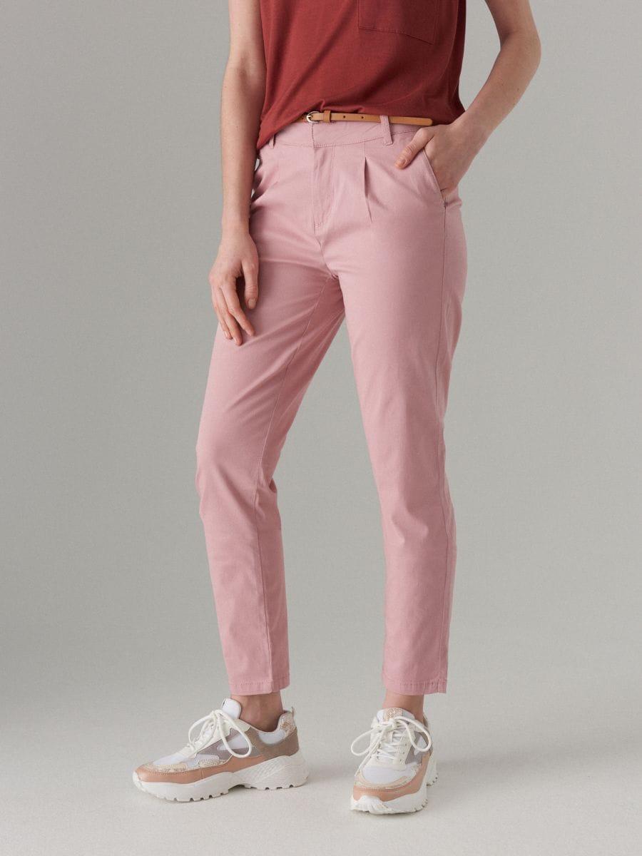 Piegulošas chino bikses ar jostu - rozā - UT539-39X - Mohito - 2