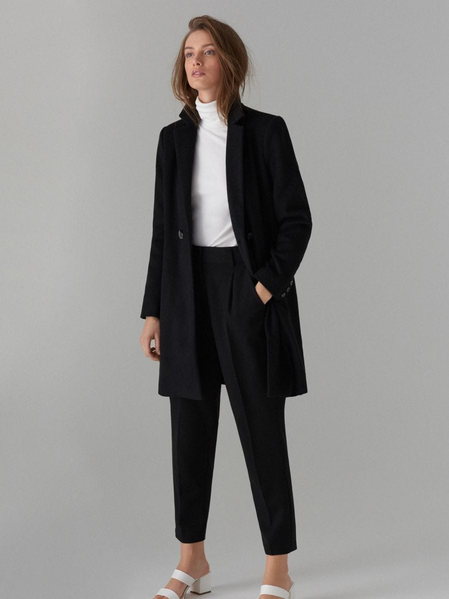 Coat with wool - schwarz - VA421-99X - Mohito - 4