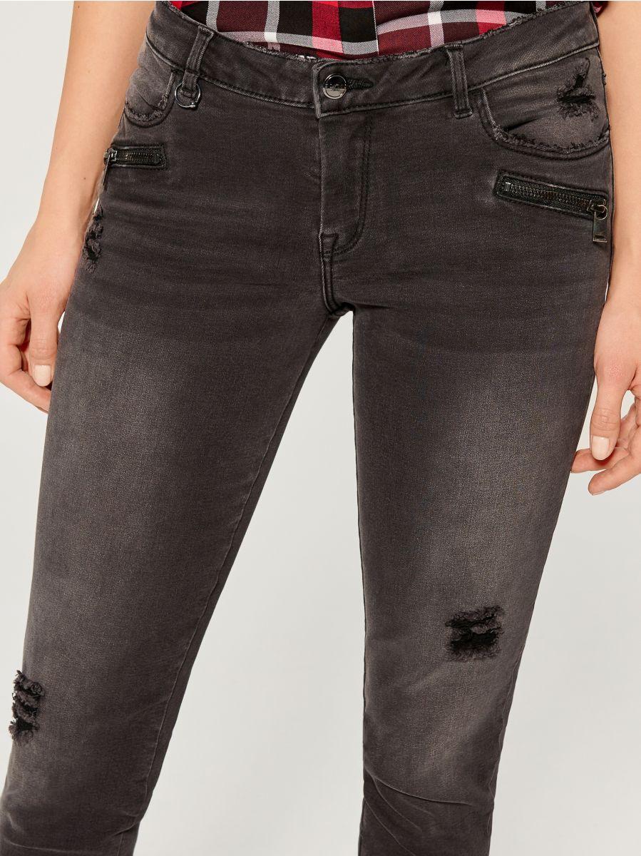 Džinsa bikses high waist skinny fit - pelēks - VA806-90J - Mohito - 3