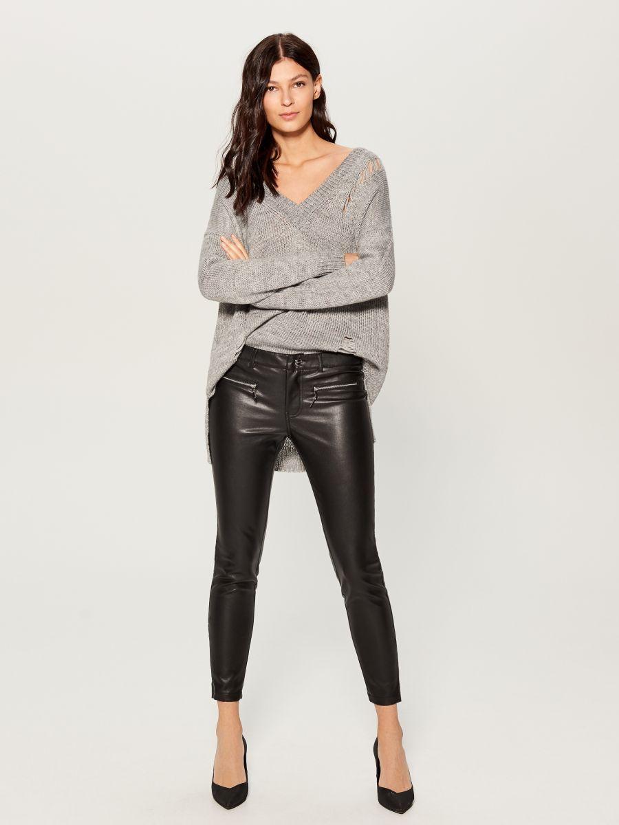 Spodnie skinny z eko skóry, MOHITO, VA808 99X