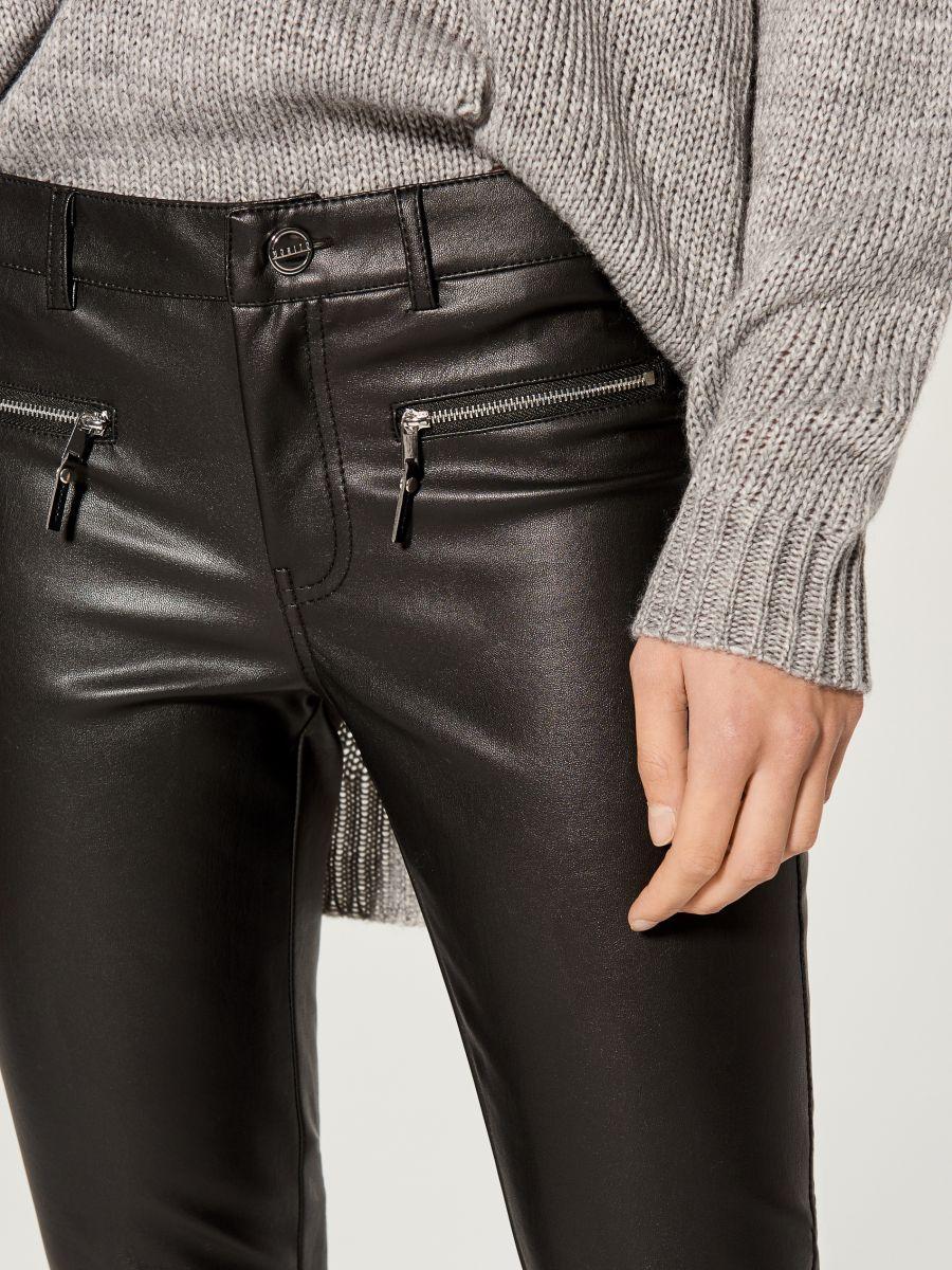 Mākslīgās ādas bikses skinny  - melns - VA808-99X - Mohito - 2