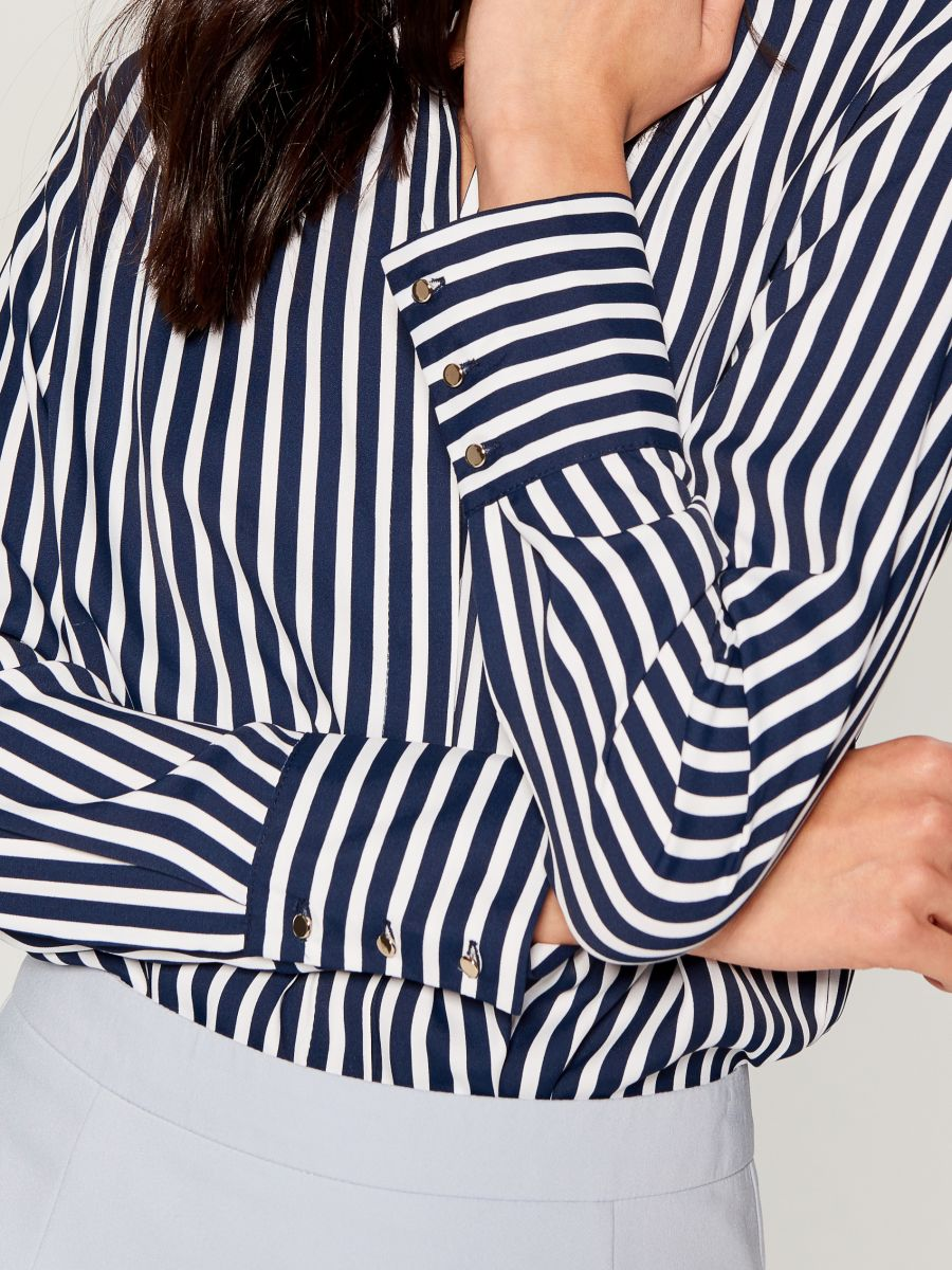 Krekls ar smalku rakstu - zils - VB653-95P - Mohito - 4