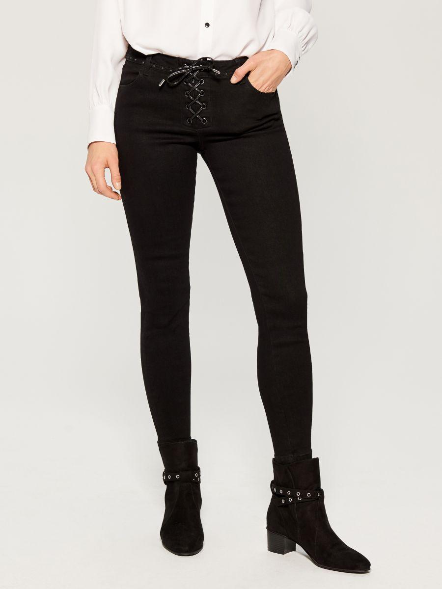 Džinsa bikses ar mežģīņu rotājumu skinny fit - melns - VG903-99J - Mohito - 1