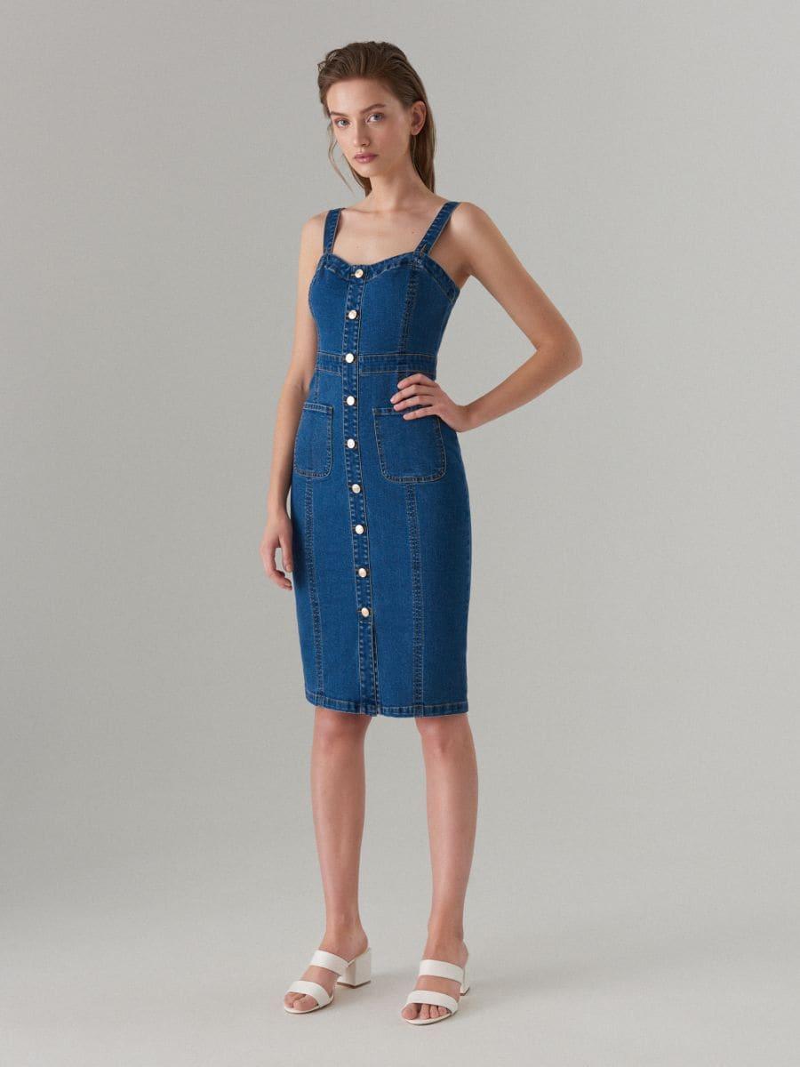 6639b577f4c00fc Джинсовое платье миди, MOHITO, VJ193-50J