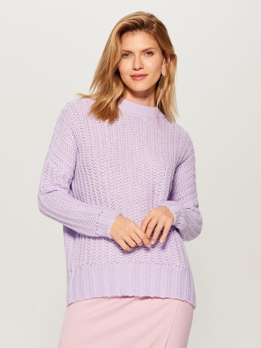 OVERSIZE džemperis ar augstu apkakli - violets - VL220-04X - Mohito - 4