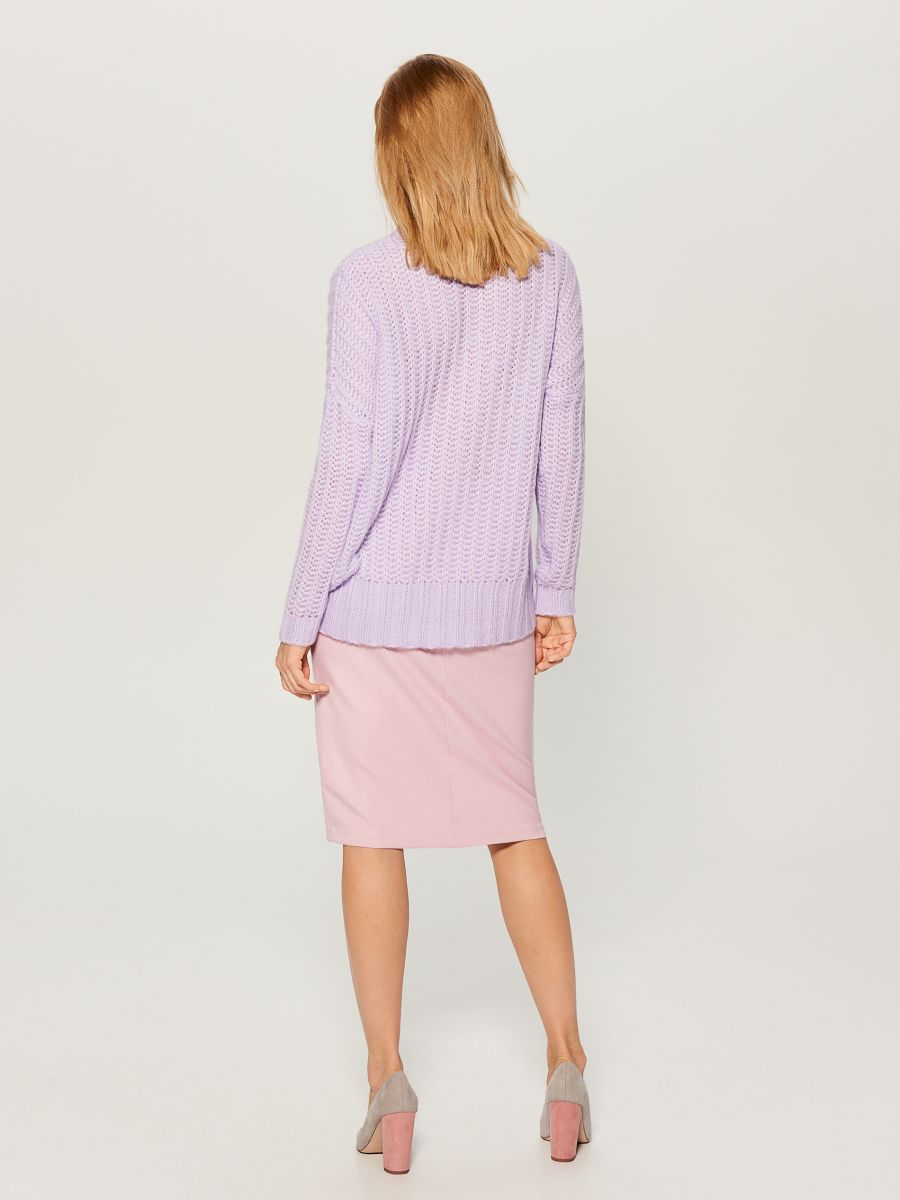 OVERSIZE džemperis ar augstu apkakli - violets - VL220-04X - Mohito - 5
