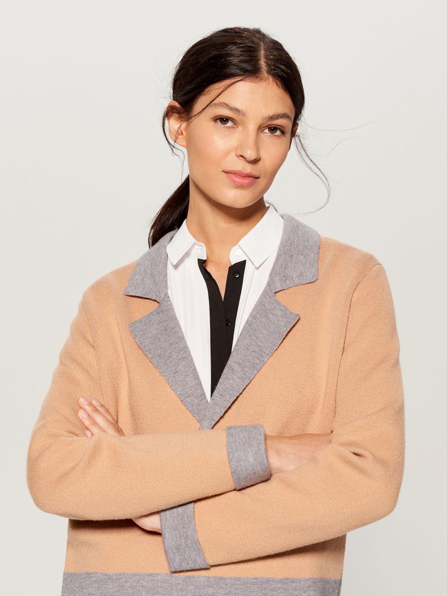 Gara jaka ar krāsainiem blokiem - bēšs - VL228-08X - Mohito - 3
