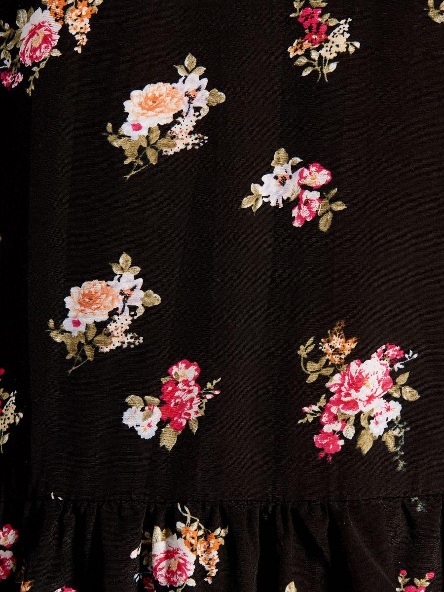 Garš tops ar ziedu apdruku - melns - VL783-99P - Mohito - 5