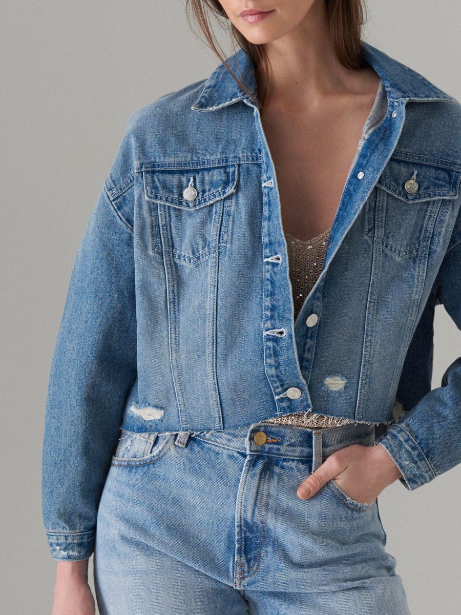 Džinsa jaka ar lineāru apdruku - zils - VM490-50J - Mohito - 6