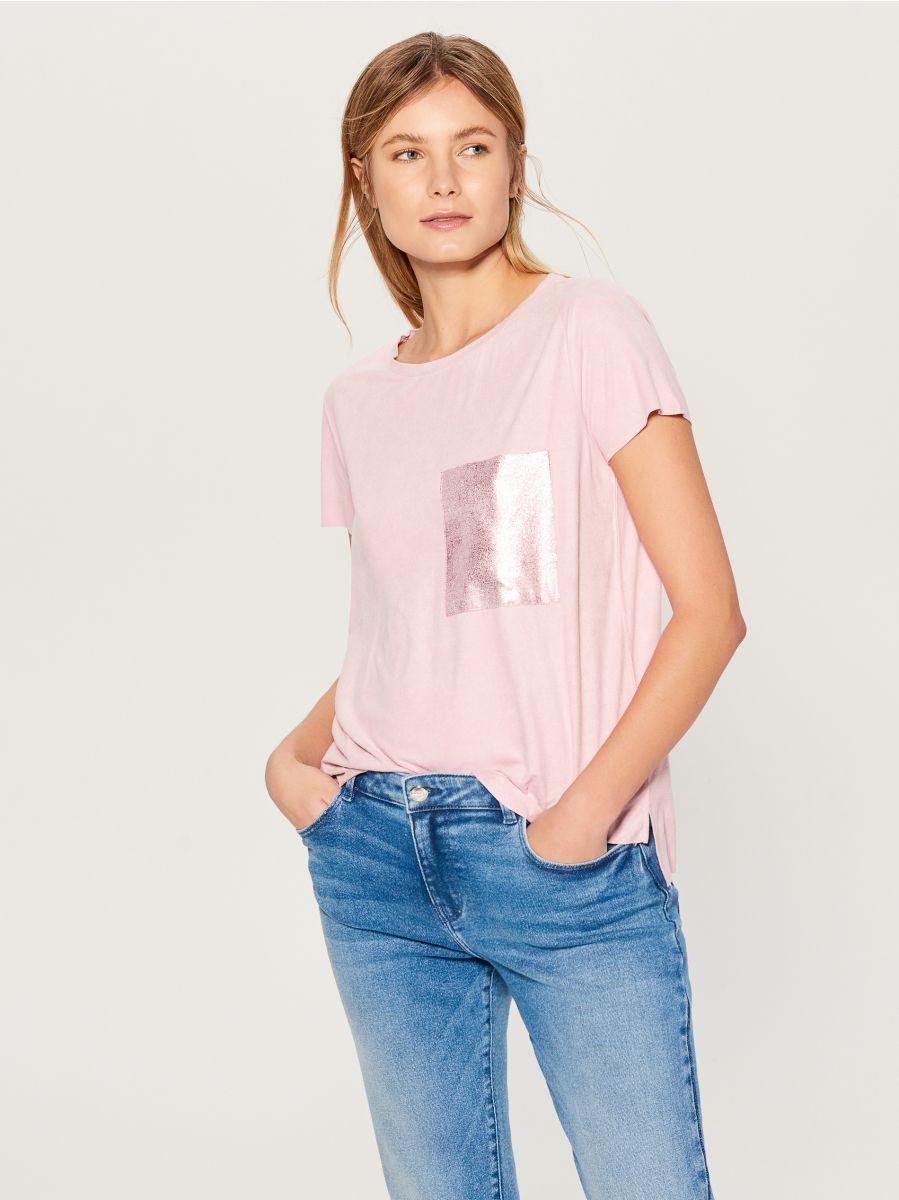 T-krekls ar mirdzošu kabatu - rozā - VN987-39X - Mohito - 1