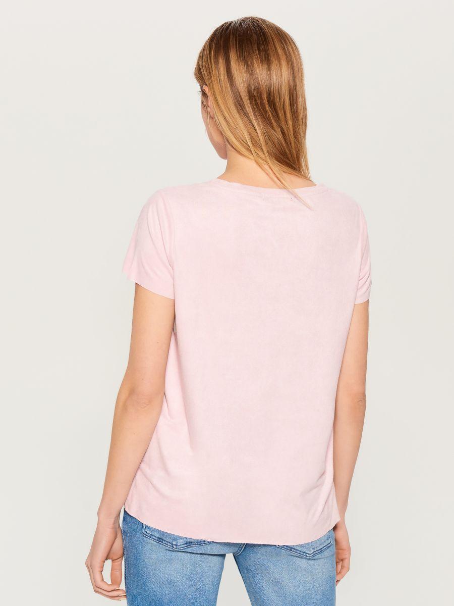 T-krekls ar mirdzošu kabatu - rozā - VN987-39X - Mohito - 3