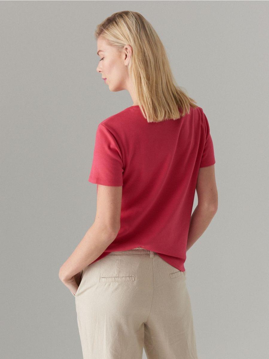 Kokvilnas T-krekls ar īsām piedurknēm  - rozā - VO216-03X - Mohito - 5
