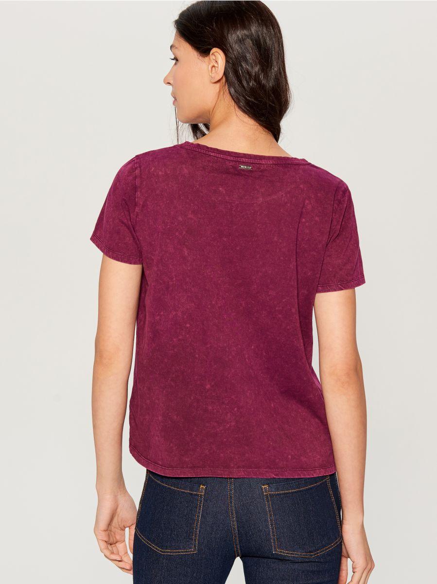 Kokvilnas T-krekls ar nomazgājuma efektu - violets - VO219-49X - Mohito - 3