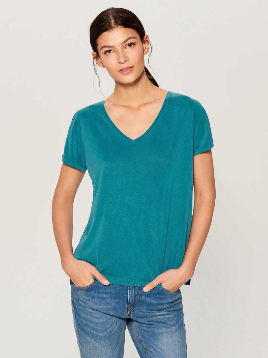 T-krekls Basic - tirkīza - VP614-66X - Mohito - 2