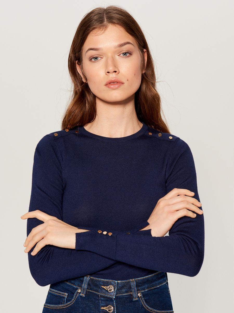 Pieguļošs džemperis - zils - VQ756-95X - Mohito - 1