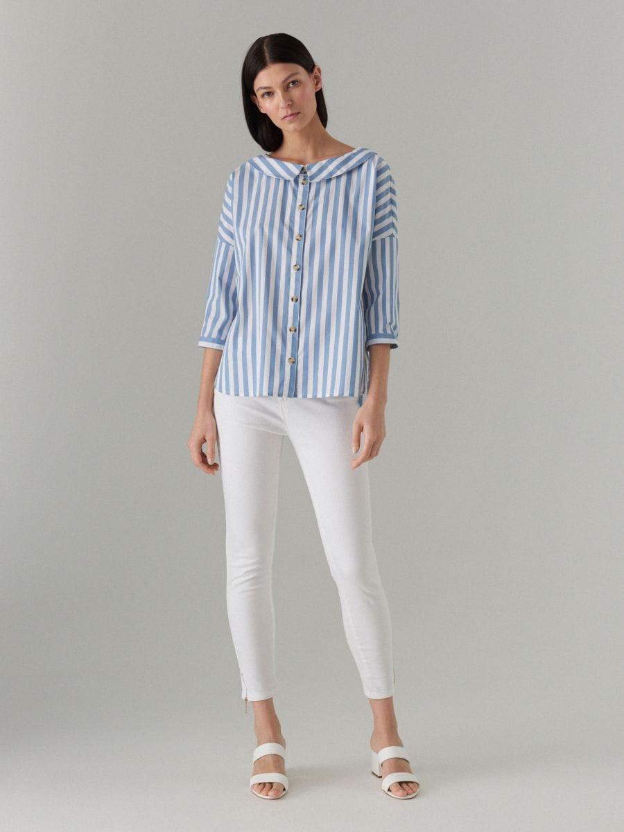 Oversize krekls ar platu apkakli - zils - VQ796-05P - Mohito - 3
