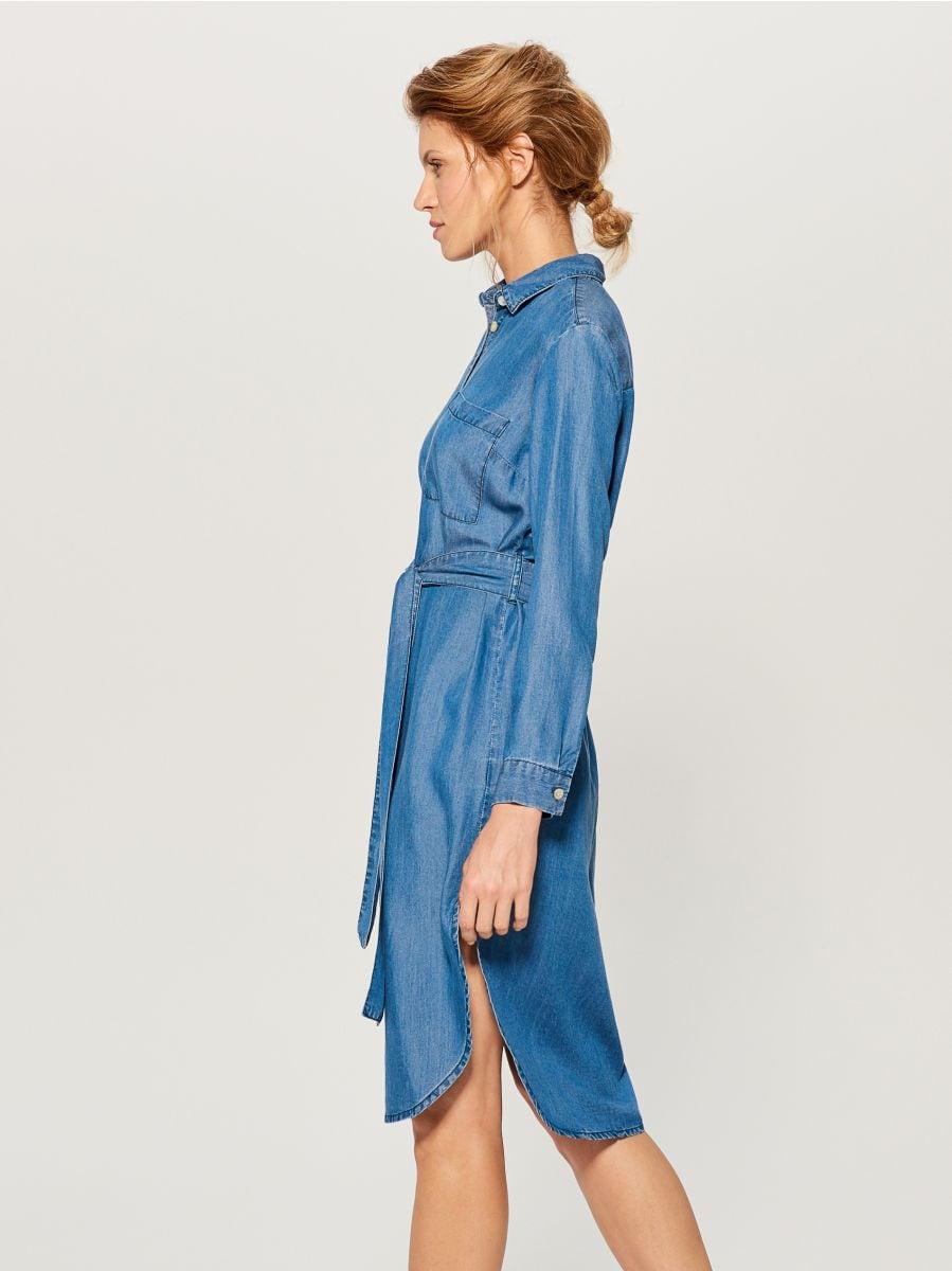 Kreklveida kleita no liocela - zils - VS054-55J - Mohito - 2