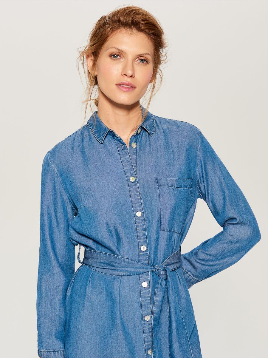 Kreklveida kleita no liocela - zils - VS054-55J - Mohito - 3