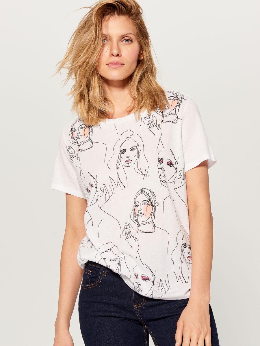 T-krekls ar mākslas apdruku - balts - VS423-00X - Mohito - 1