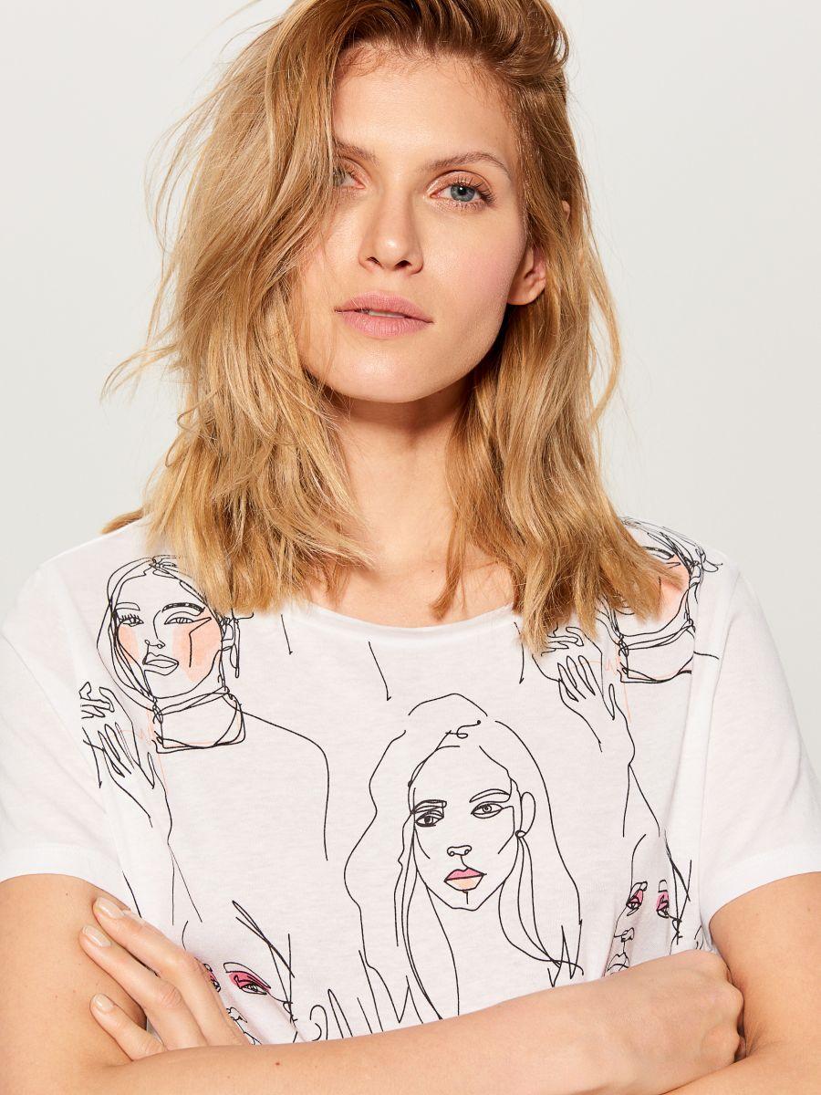 T-krekls ar mākslas apdruku - balts - VS423-00X - Mohito - 3
