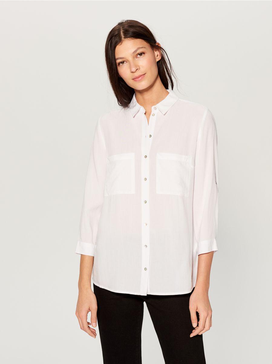 Krekls ar uzlocītām piedurknēm - balts - VS979-00X - Mohito - 1