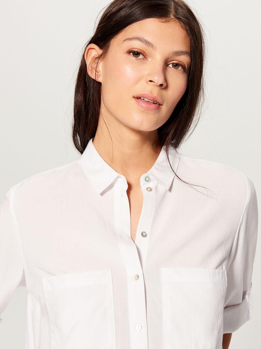 Krekls ar uzlocītām piedurknēm - balts - VS979-00X - Mohito - 3