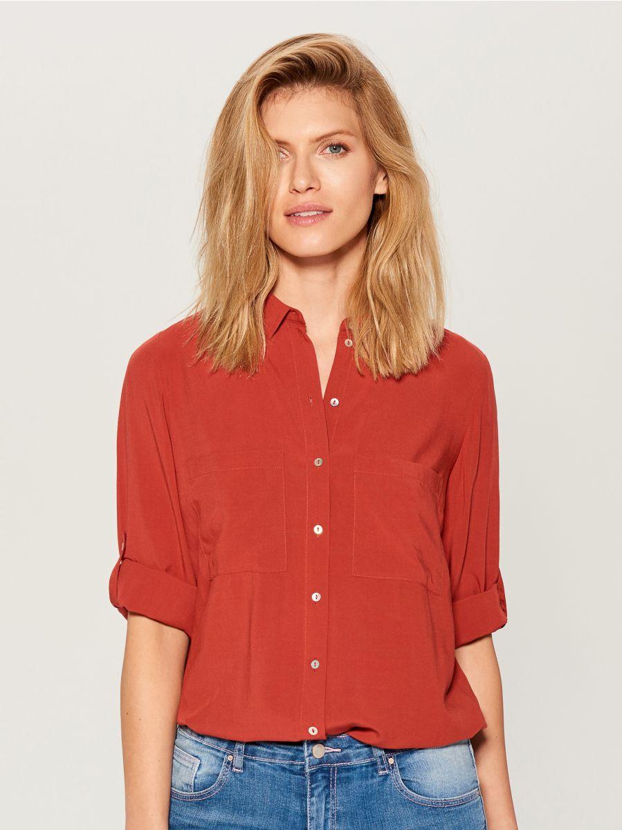 Krekls ar uzlocītām piedurknēm - sarkans - VS979-29X - Mohito - 3