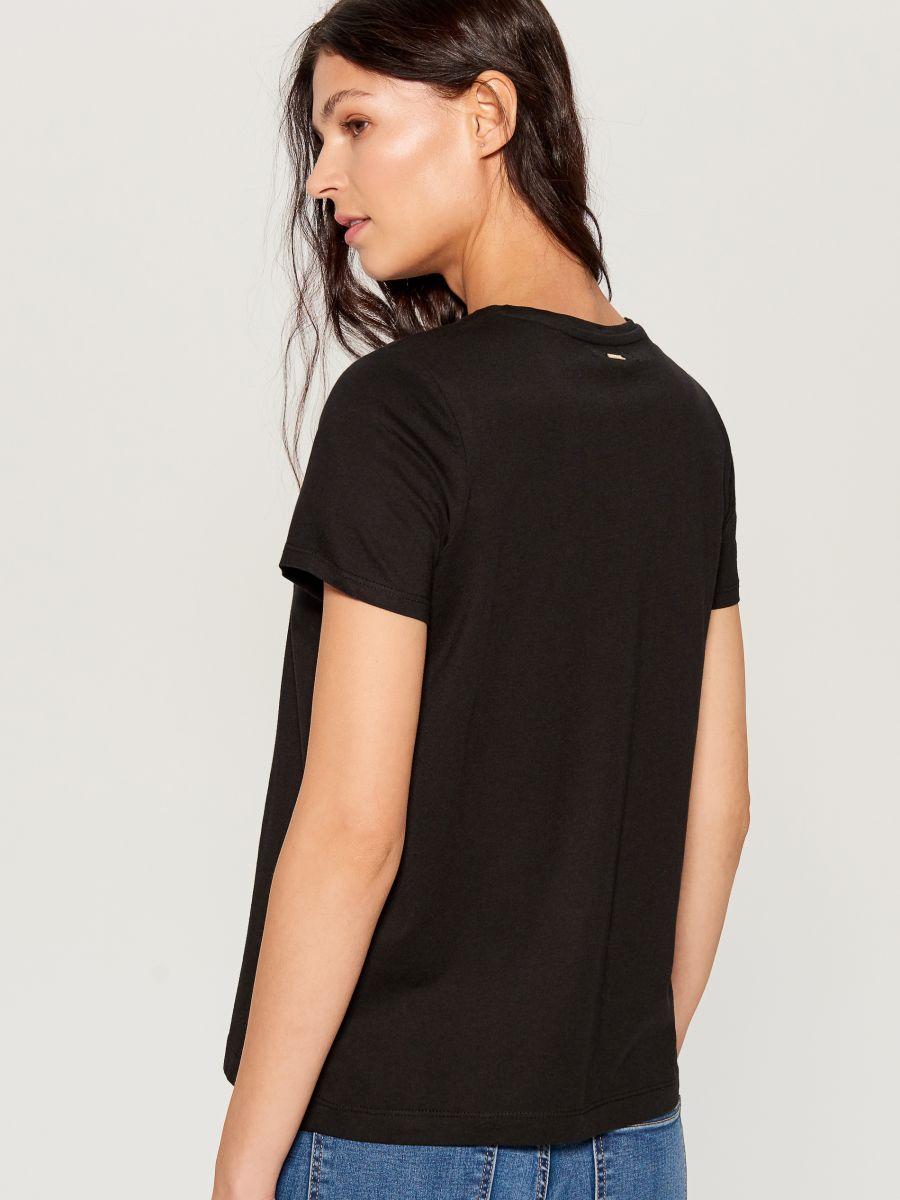 T-krekls ar apdruku - melns - VT024-99X - Mohito - 4