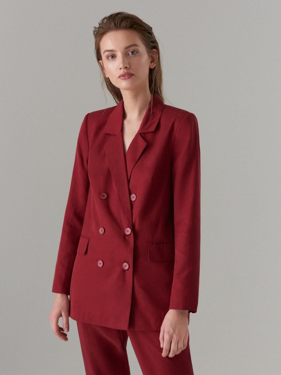 Lyocell double breasted blazer - burgundy - VU584-83X - Mohito - 4