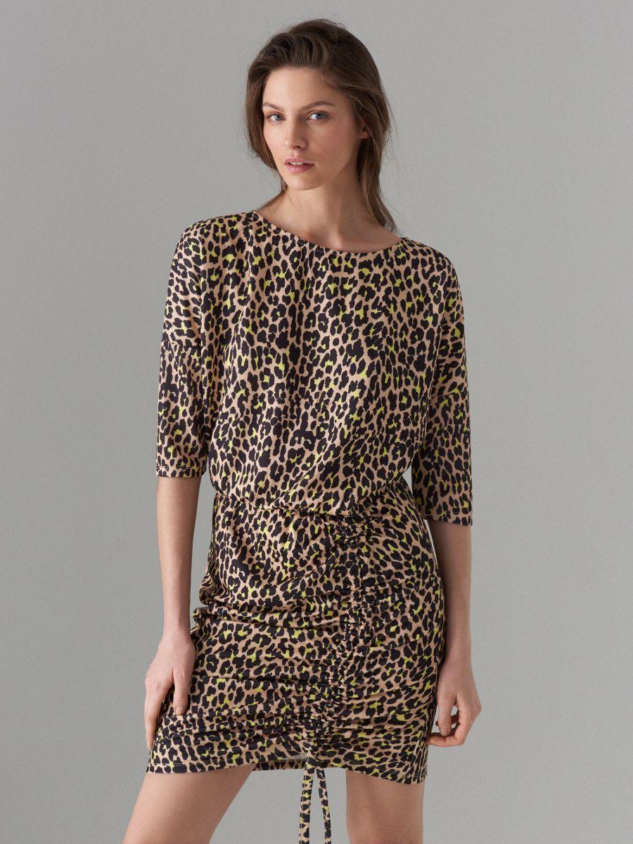 Kleita ar leoparda apdruku - brūna - VU649-83P - Mohito - 2