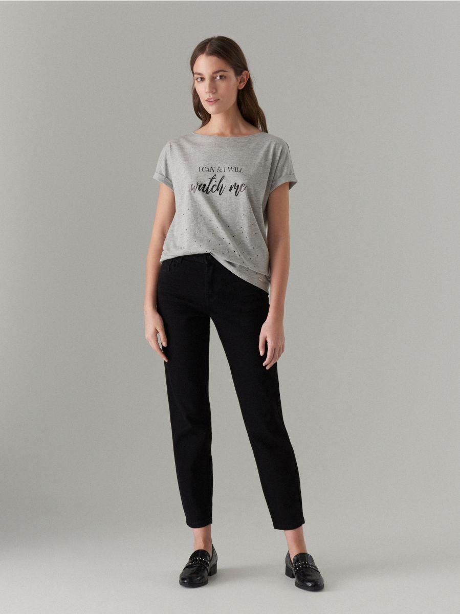 T-krekls ar apdruku - pelēks - VU861-90X - Mohito - 1