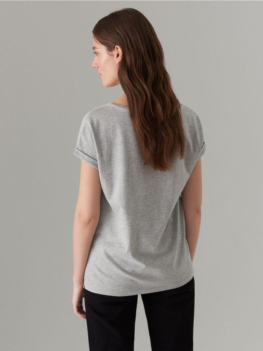 T-krekls ar apdruku - pelēks - VU861-90X - Mohito - 3