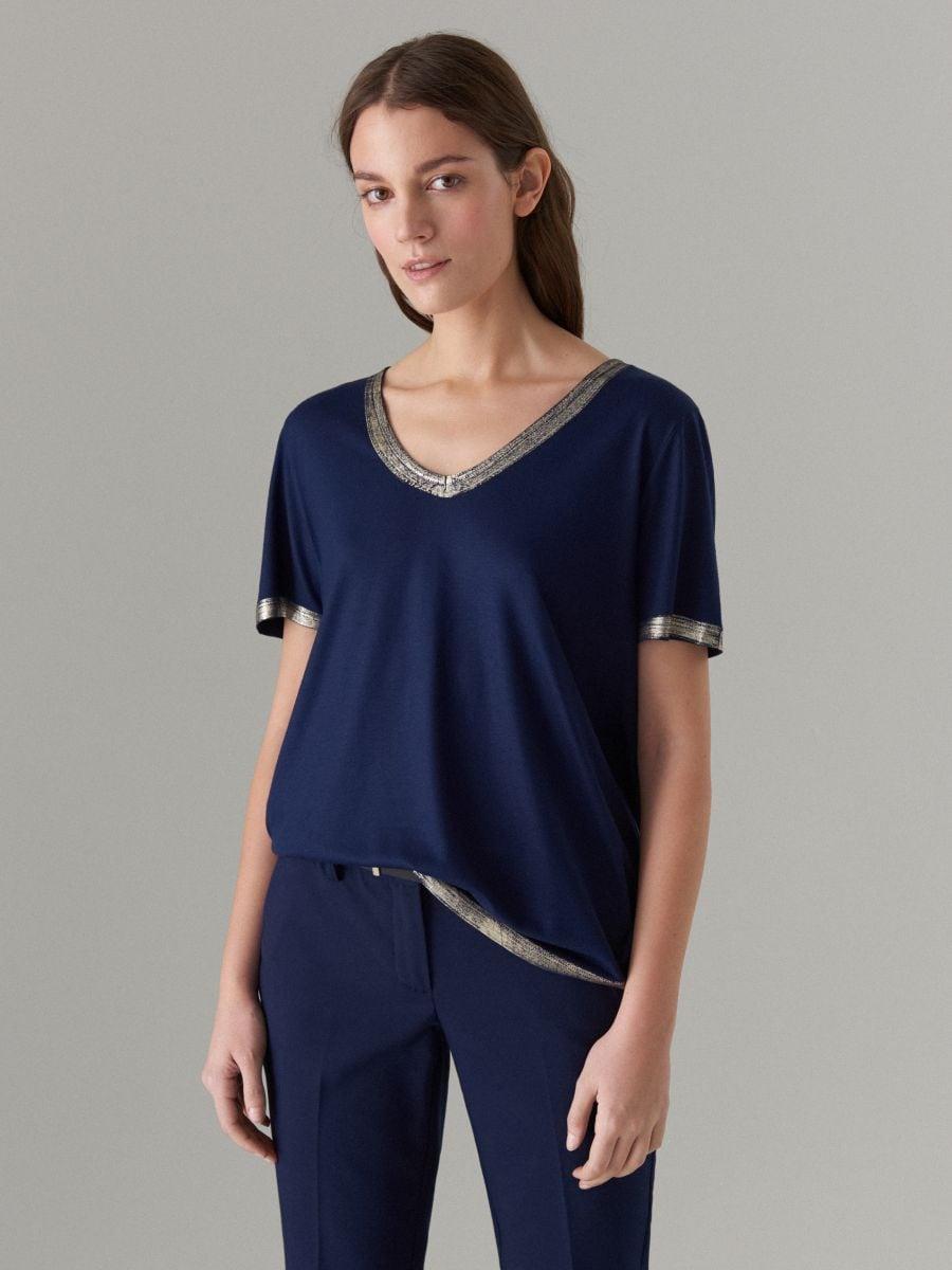 T-krekls ar spīdīgu maliņu - zils - VU862-95X - Mohito - 1