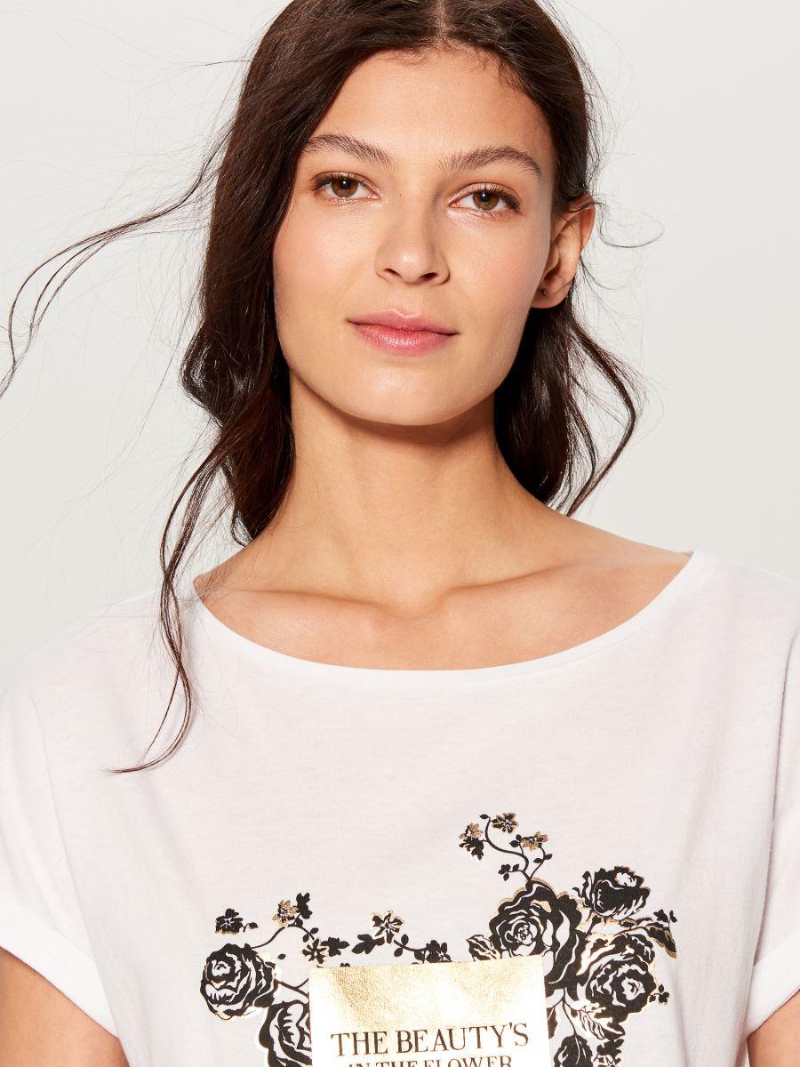 T-krekls ar apdruku - balts - VU865-00X - Mohito - 1