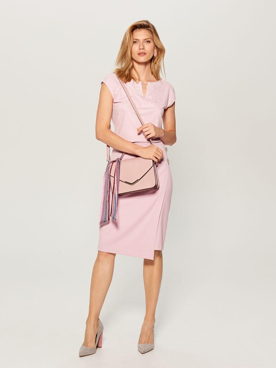 Zamšādas kimono stila blūze - rozā - VU867-39X - Mohito - 2