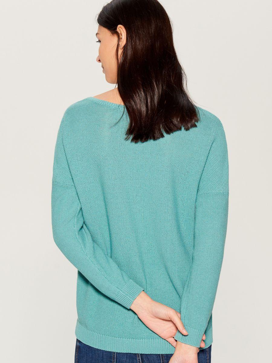 Džemperis ar V veida kakla izgriezumu - zils - VV368-05X - Mohito - 3