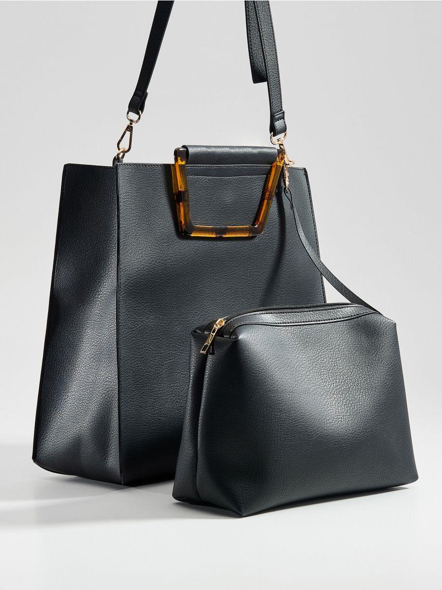 Shopper tipa soma ar dekoratīviem rokturiem - melns - VV522-99X - Mohito - 1