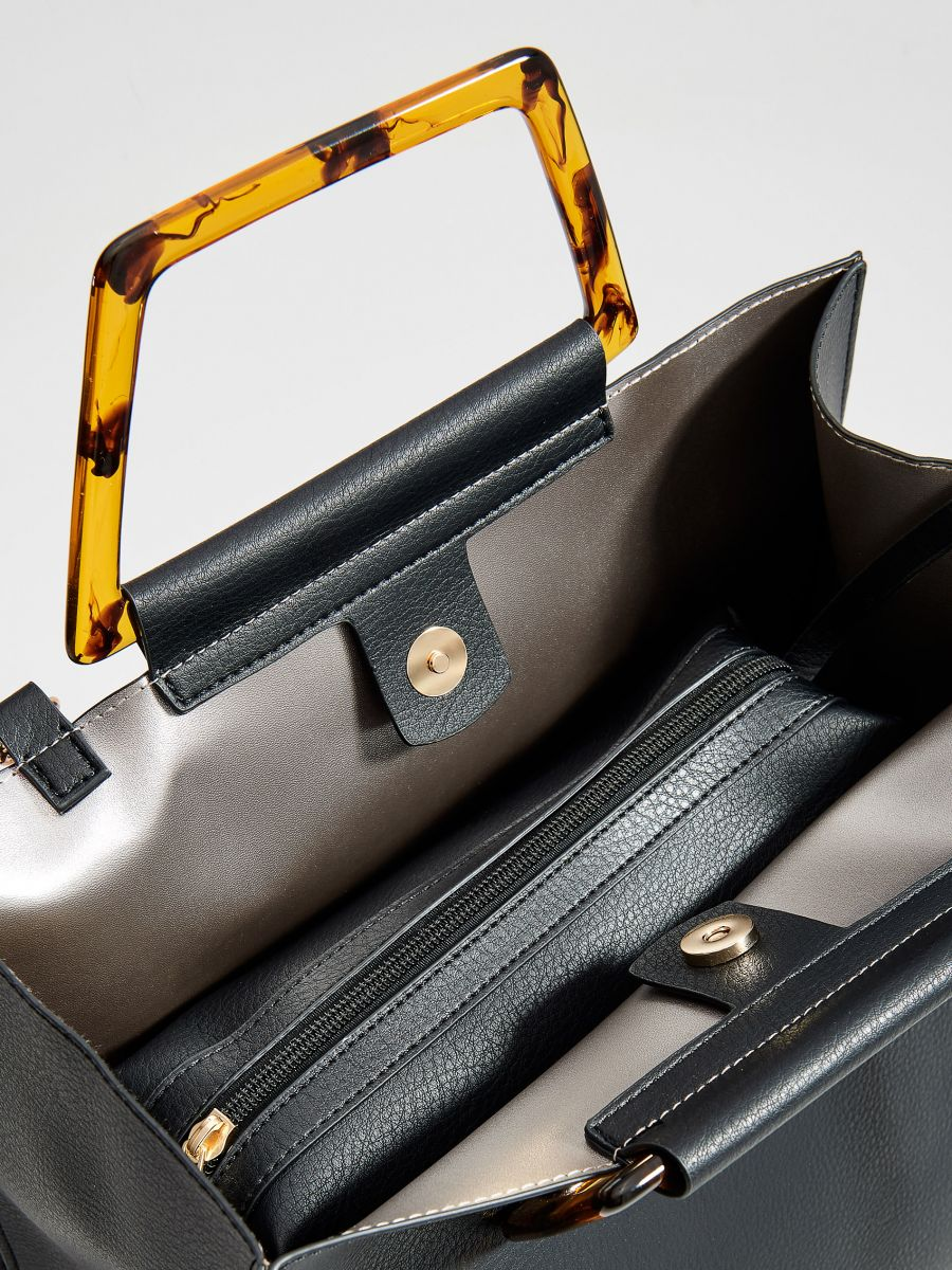 Shopper tipa soma ar dekoratīviem rokturiem - melns - VV522-99X - Mohito - 2