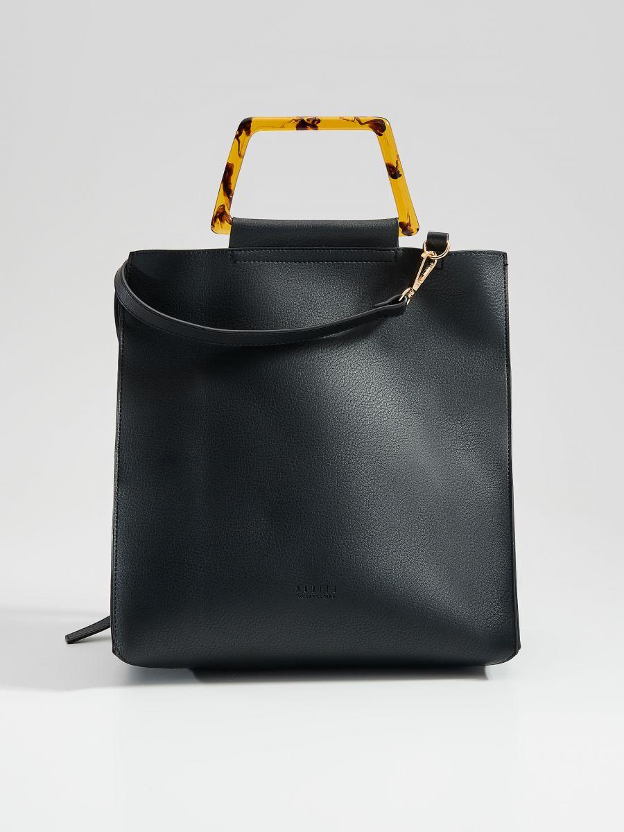 Shopper tipa soma ar dekoratīviem rokturiem - melns - VV522-99X - Mohito - 3