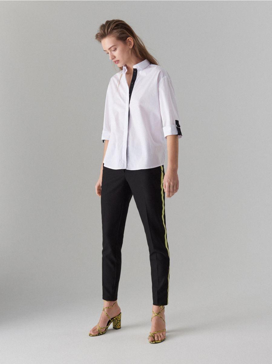 Oversize krekls ar lentītes rotājumu - balts - VV620-00X - Mohito - 2