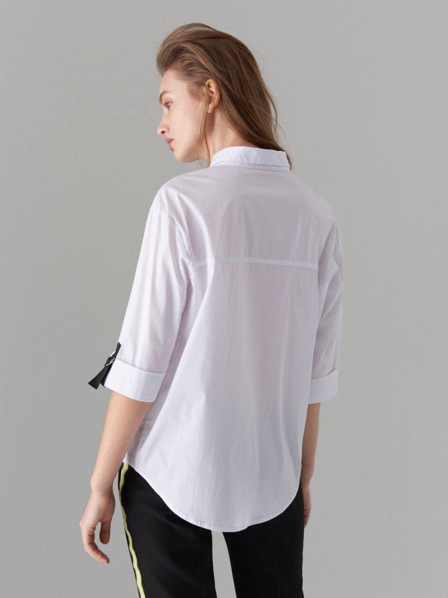 Oversize krekls ar lentītes rotājumu - balts - VV620-00X - Mohito - 3