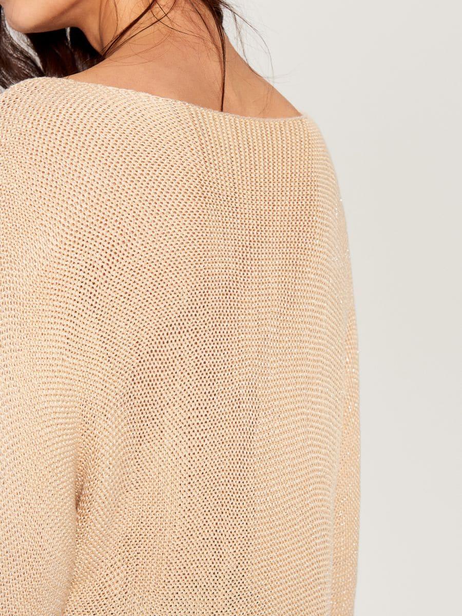 Džemperis ar trīsceturtdaļgaruma piedurknēm - bēšs - VZ809-01X - Mohito - 6